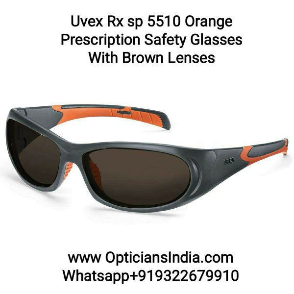 Uvex Rx 5510 Orange Prescription Safety Glasses with Brown Lens