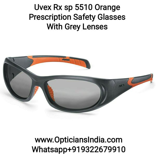 Uvex Rx 5510 Orange Prescription Safety Glasses with Grey Lens