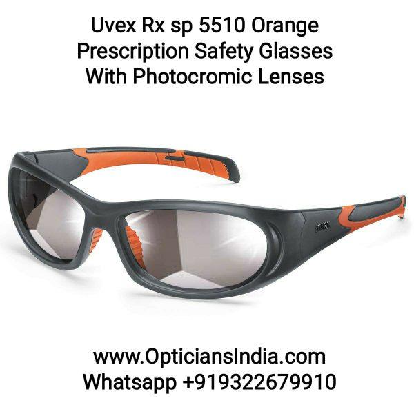 Uvex Rx 5510 Orange Prescription Safety Glasses with Photochromic Len