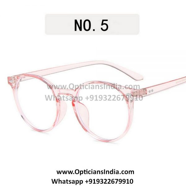 Transparent Pink Round Blue Light Glasses C5
