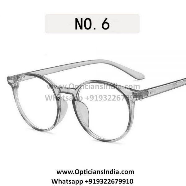 Transparent Grey Round Blue Light Glasses C8