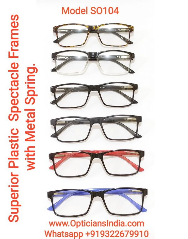 Superior Plastic Spectacle Frames Glasses with Metal Spring Model SO104
