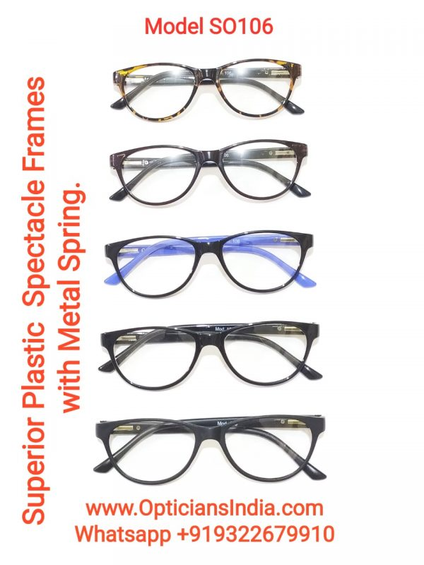Superior Plastic Spectacle Frames Glasses with Metal Spring Model SO106