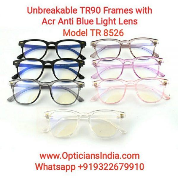 Unbreakable TR90 Frames Glasses with Anti Blue Light Lenses 8526