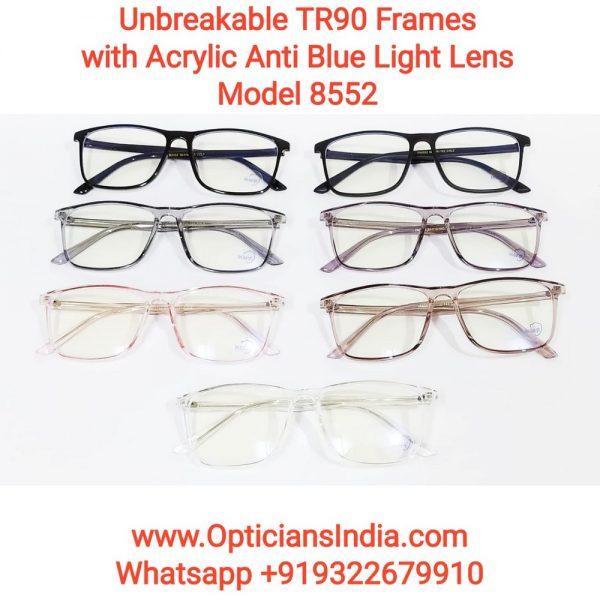 Unbreakable TR90 Frames Glasses with Anti Blue Light Lenses 8552