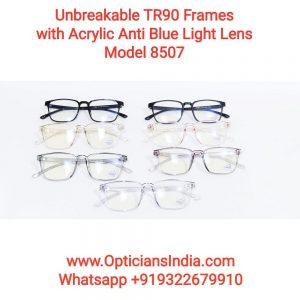 Unbreakable TR90 Frames Glasses with Anti Blue Light Lenses 8507