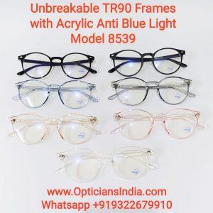 Unbreakable TR90 Frames Glasses with Anti Blue Light Lenses 8539