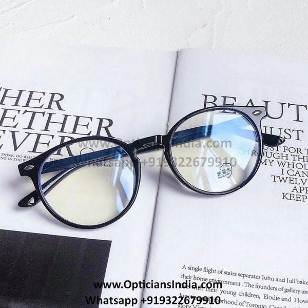 Matt Black Round Blue Light Glasses C2