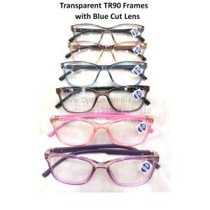 Medium Size Transparent Colors TR90 Frames with Blue Light Block Glasses Blue Cut Lens