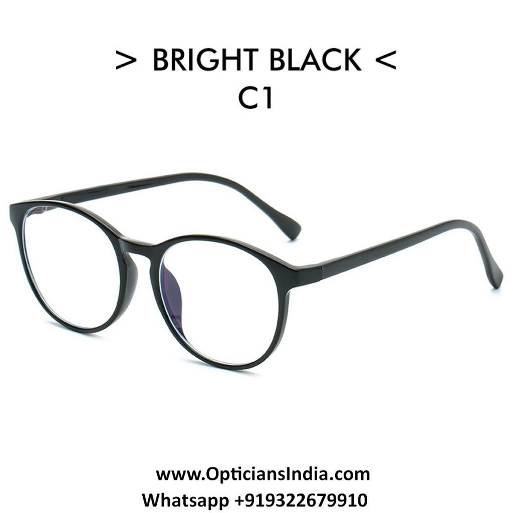 Black Round TR90 Spectacle Frame Blue Light Glasses