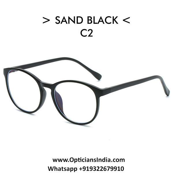 Matt Black Round TR90 Spectacle Frame Blue Light Glasses 8555C2