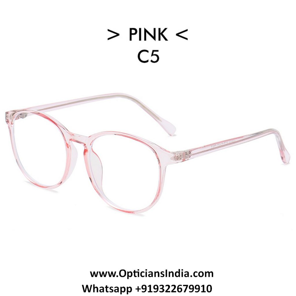 Transparent Pink Round TR90 Spectacle Frame Blue Light Glasses 8555C5