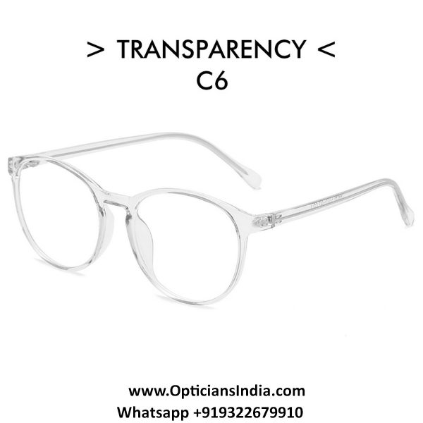 Transparent Clear Round TR90 Spectacle Frame Blue Light Glasses 8555C6