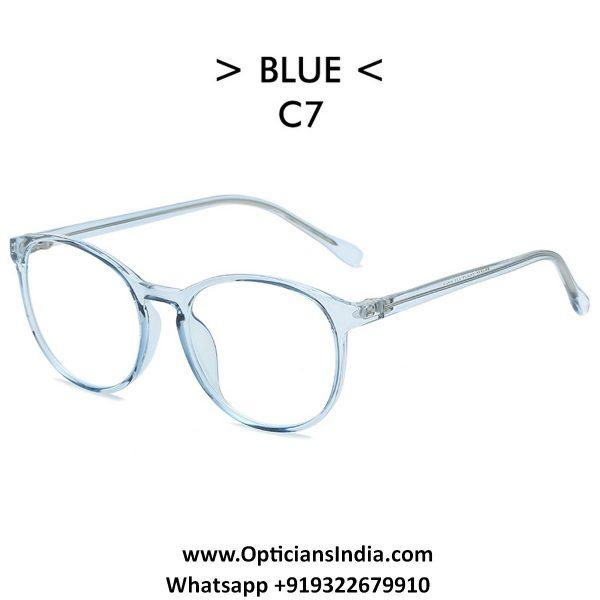 Transparent Blue Round TR90 Spectacle Frame Blue Light Glasses 8555C7