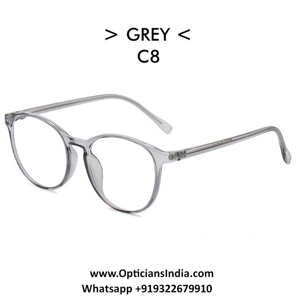 Transparent Grey Round TR90 Spectacle Frame Blue Light Glasses 8555C8