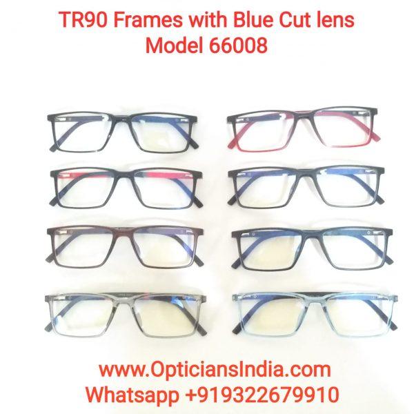 Unbreakable TR90 Frames Glasses with Anti Blue Light Lenses 66008