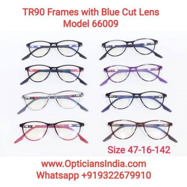 Unbreakable TR90 Frames Glasses with Anti Blue Light Lenses 66009
