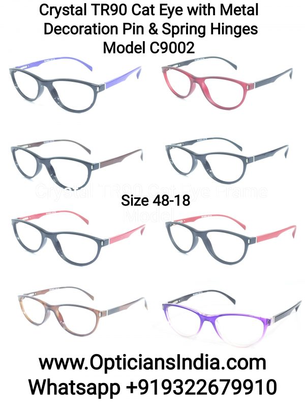 TR90 Cat Eye Spectacle Frames with Metal Decoration Pin and Spring Hinges
